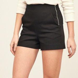 zara high waist black shorts side zip